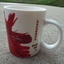 Starbucks Red Flower Abstract Ceramic Mug with Gold Accents 2014 - $13.55