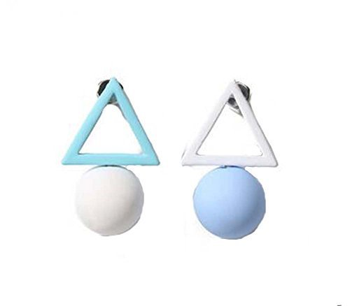 European Style Simple Triangles Temperament Earrings Asymmetric Earrings,Blue