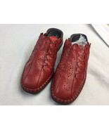 Rieker Women Mules Shoes Sz 41 Woven Red Leather Euro Comfort Antistress - $32.71