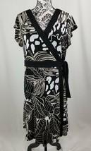 Dana Buchman women's stretch knit floral print wrap dress sz xl short sl... - $25.74