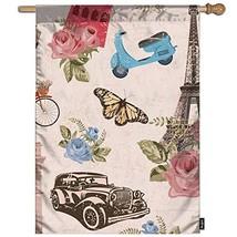 Mugod Paris Travel Garden Flag Vintage Paris City with Bicycle Car Flowe... - $14.65