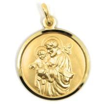 18K YELLOW GOLD ST SAINT SAN GIUSEPPE JOSEPH JESUS MEDAL MADE IN ITALY, 21 MM image 1
