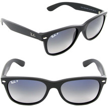 RAY-BAN New Wayfarer RB 2132 601S78 55mm Matte Blk w/Blue Gray Gradnt Po... - $96.97