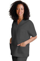V Neck 3 Pocket Scrub Large Top Adar Uniform Pewter Solid Nurses 601 Uni... - $16.46
