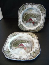 Johnson Brothers Friendly Village The Covered Bridge Lot of 2 Luncheon P... - $19.60