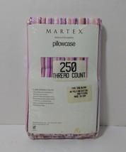 Pink Purple Striped King Size Pillowcase Martex 250 Thread Count Cotton ... - $9.74