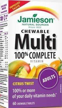 Jamieson 100% Complete Chewable Multivitamin for Adults Citrus Twist Multi, 60 c