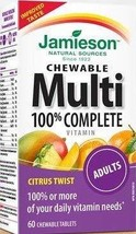 Jamieson 100% Complete Chewable Multivitamin for Adults Citrus Twist Multi, 60 c image 1