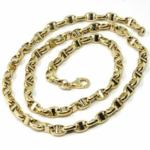 Gold chain yellow and white 18k jersey, boat, oval, 5 mm thick, 60 cm - $2,724.92