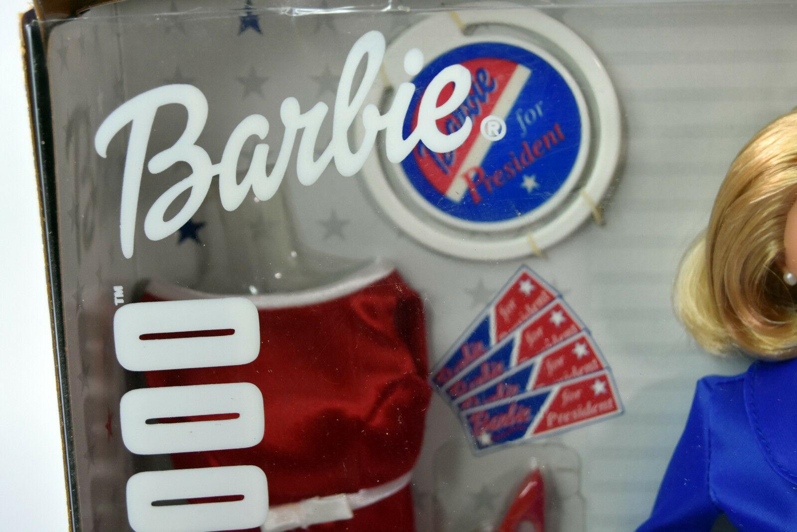 Mattel BARBIE Girls Blonde Doll NIB President 2000 Red Blue Dress White House image 3