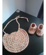 Crochet Baby Bib & Booties Set/Red Swirl - $18.00