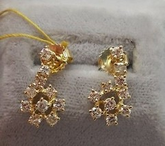 14K Gold Drop Earrings with 1.Ct Genuine Natural Diamonds (#656) - $765.23