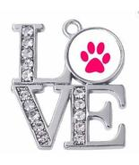 Dog Charm - Love Paw with Crystals Jewelry Silver-tone dog pawprint char... - $5.20