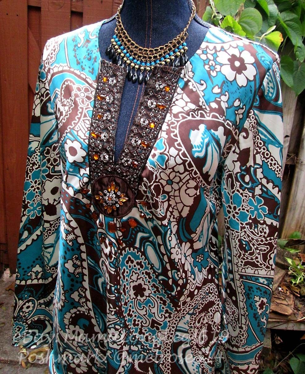 Bold Print Blouse Sz 12 Nicole by Nicole Miller Jeweled Tunic Boho Top Floral