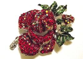 Red Swarovski Crystal Mini Rose Brooch Pin - $17.99