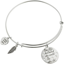 Sterling Silver She Believed She Could So She Did Heart Feather Faith Co... - $138.05