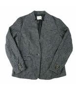 Maison Jules Womens Wool Blend Houndstooth One Button Blazer 10 Black Co... - $22.00