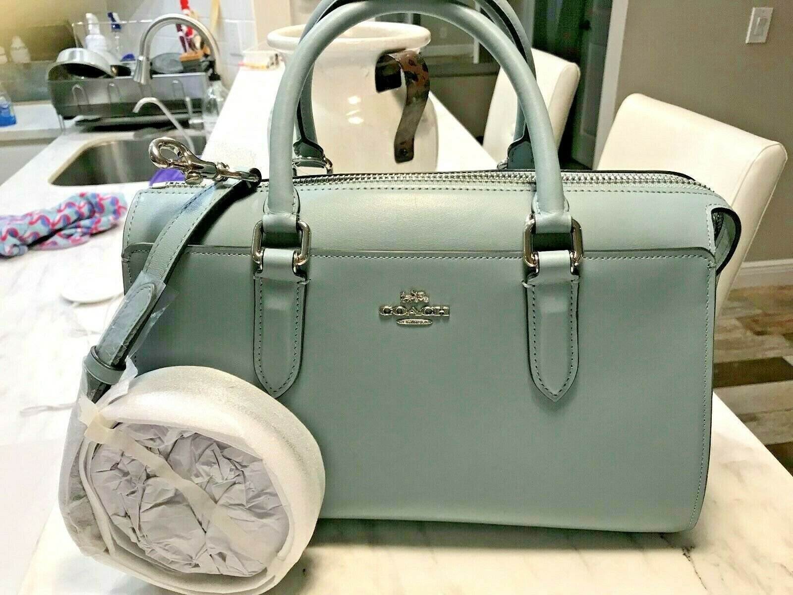 47fa24708 COACH Bond Bag Convertible Calf Leather Satchel in Sage Blue 31713 Msrp 395