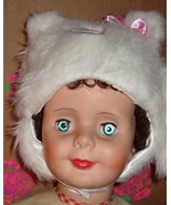 NEW - White Kitty Faux Fur Hat & Mittens (Size - Infant) - $4.99
