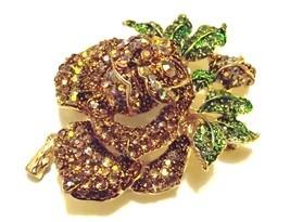 Gorgeous Topaz Swarovski Crystal Mini Rose Brooch Pin - $17.99