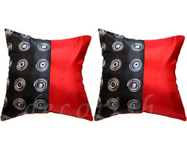2 EMBROIDERED SILK SOFA COUCH DECOR PILLOW CASES BLACK & RED - $14.99
