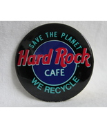 Pinback Button Hard Rock Cafe Vintage Save The Planet We Recycle Black R... - $5.99