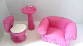 1990's MTC Doll Furniture Couch Toilet Sink Pink  - $24.99