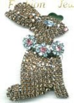 BROWN SPARKLING CRYSTAL BUNNY RABBIT PIN - $17.00