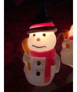 New Set Of Ten Christmas Blow Mold Snowmen Holding a Broom Novelty Lights - $14.84