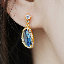 Sapphire Earrings Navy Blue Tears Bridesmaid Wedding Jewelry 14k Gold Bf... - $32.37