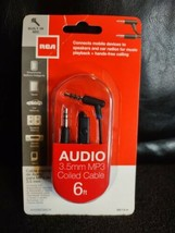 RCA Audio 3.5 mm MP3,MP4 Coiled Cable 6 ft/1.8 m W/Built In Mic AH208CMICR - $8.90