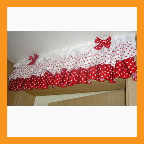 Primary image for red dot ruffled valance curtain window treatment kitchen waverly drape lace