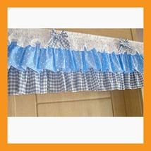 blue dot ruffled valance curtain window treatment kitchen waverly drape ... - $39.00