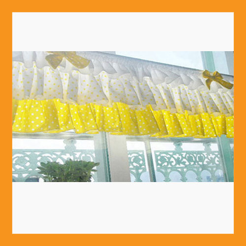 yellow dot ruffled valance curtain window treatment kitchen waverly drape lace