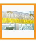 yellow dot ruffled valance curtain window treatment kitchen waverly drap... - $39.00