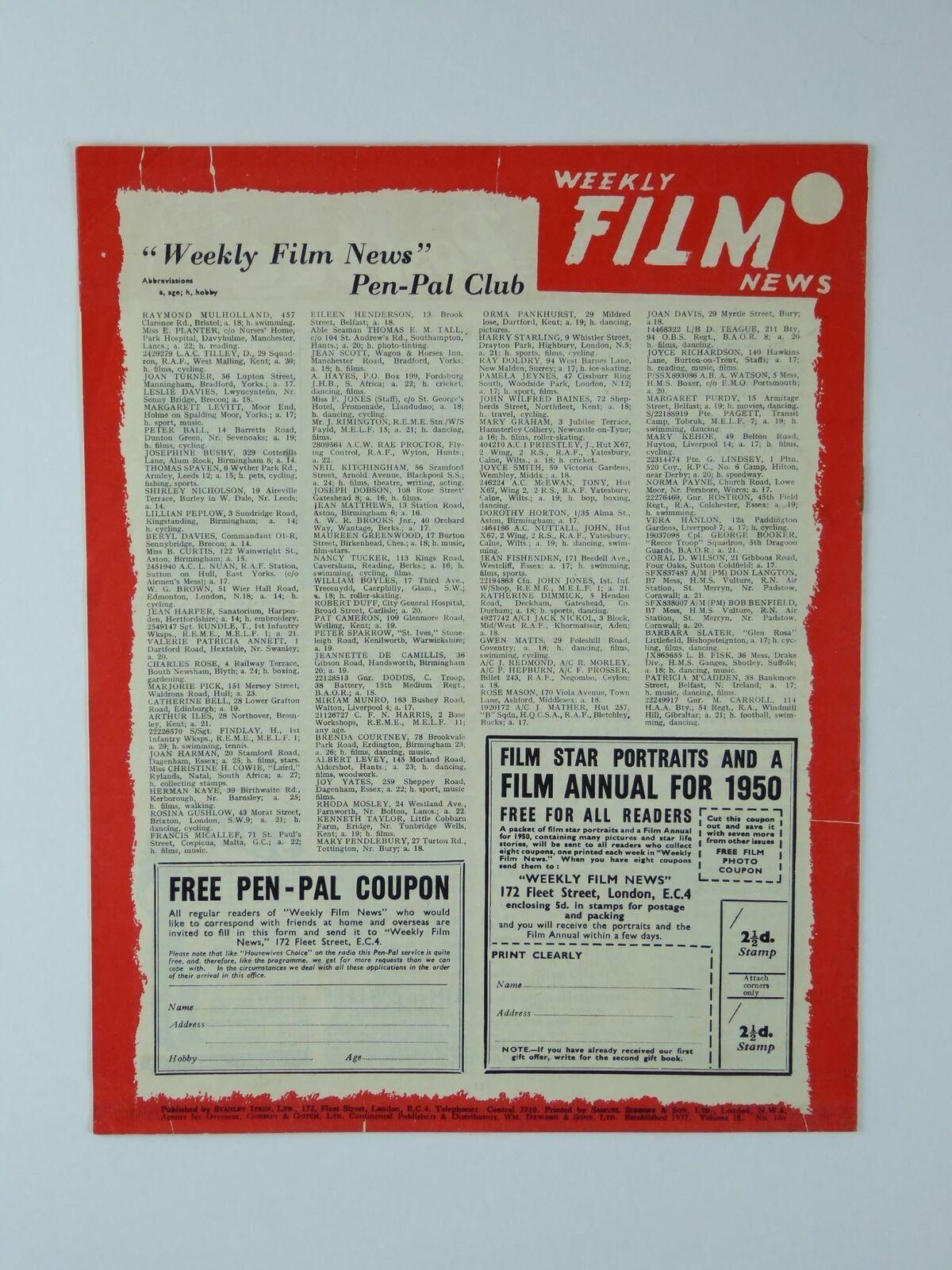 Ronald Reagan Vintage Original Weekly Film News Magazine London England 1950
