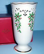 "Lenox HOLIDAY Pierced Footed Medium Vase 7"" Scalloped Rim New - $19.90"