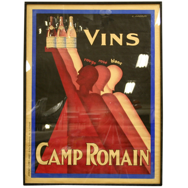 "Antique Vintage Poster ""VINS CAMP ROMAIN ROUGE ROSE BLANC"" by  L. Gadoud c1930s"