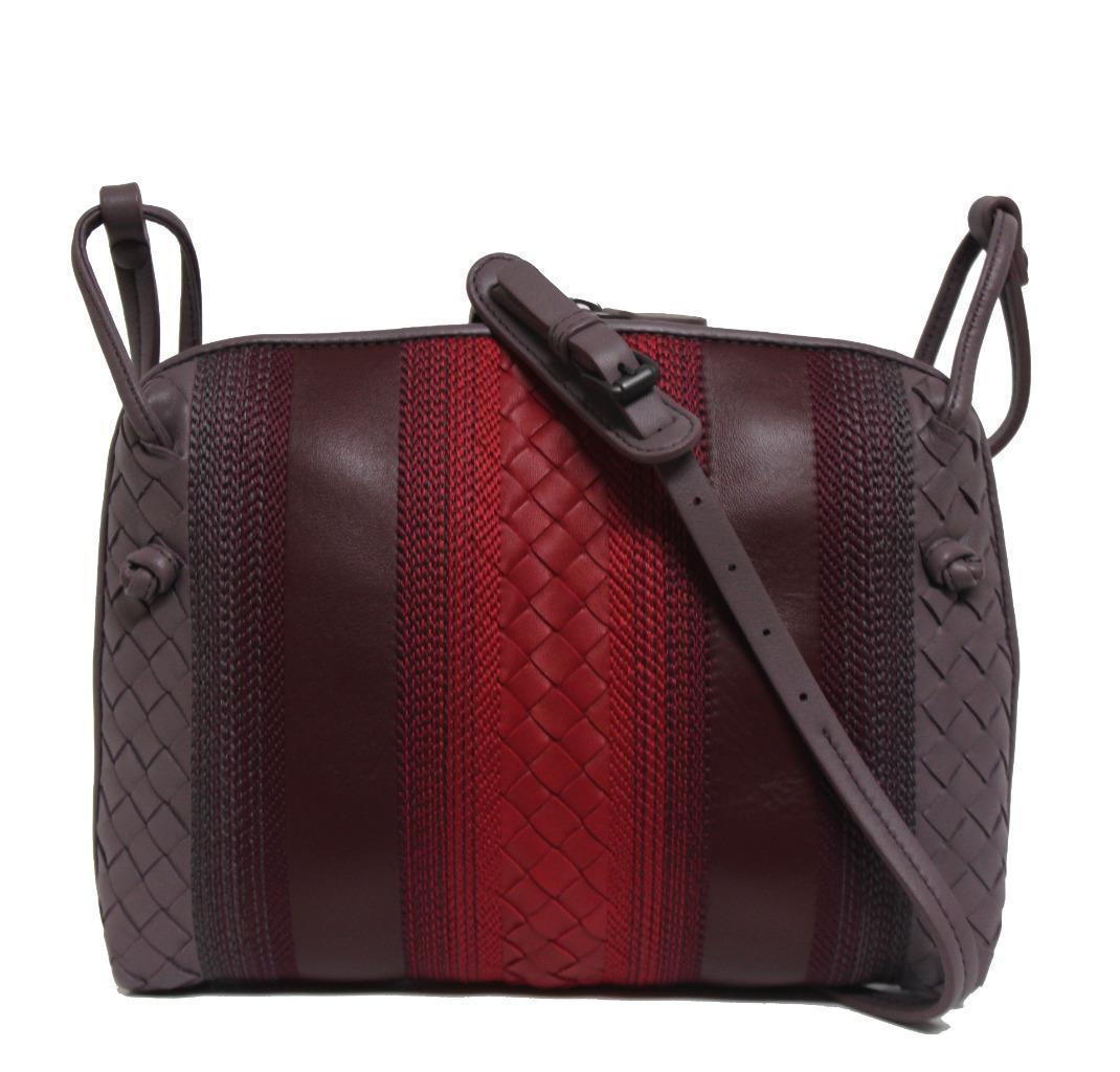 4ee3d74034 S l1600. S l1600. Previous. New Bottega Veneta Burgundy Intrecciato Striped  Leather Crossbody Bag