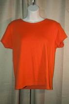 Aeropostale Top Womens M Orange Cotton Knit Straight Bodice Scoop Neck S... - $10.88