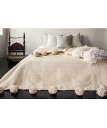 Moroccan Pom Pom Blanket Wool, Queen size bed, Large Pom Poms Bohemian b... - $179.00