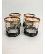 Vintage Bar Lowball Rocks Glasses Winter Snowflake Gold Trim Set 4 Mid C... - $49.49