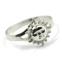 SOLID 18K WHITE GOLD SUN RING, SATIN AND SMOOTH, SUN WITH RAYS image 2