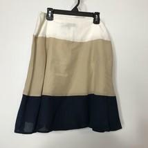 Anne Klein A-Line Skirt Womens 4P Color Block Silk Blend Lightweight Lined  - $24.67