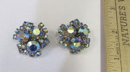Vintage Silver Tone Aurora Borealis Rhinestone Clip On Earrings Flower J... - $18.80