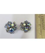 Vintage Silver Tone Aurora Borealis Rhinestone Clip On Earrings Flower J... - $18.80