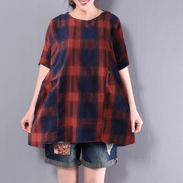 2018 Oversize ZANZEA Women Casual O Neck Short Sleeve Baggy Cotton Linen Blouse