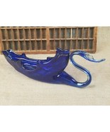 Vintage blue hand blown glass swan bowl home decor - $93.10