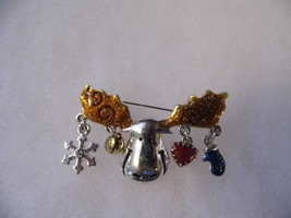 Vintage AJMC Brooch Moose Head Dangling Charms Costume Fashion Jewelry Cute - $10.66