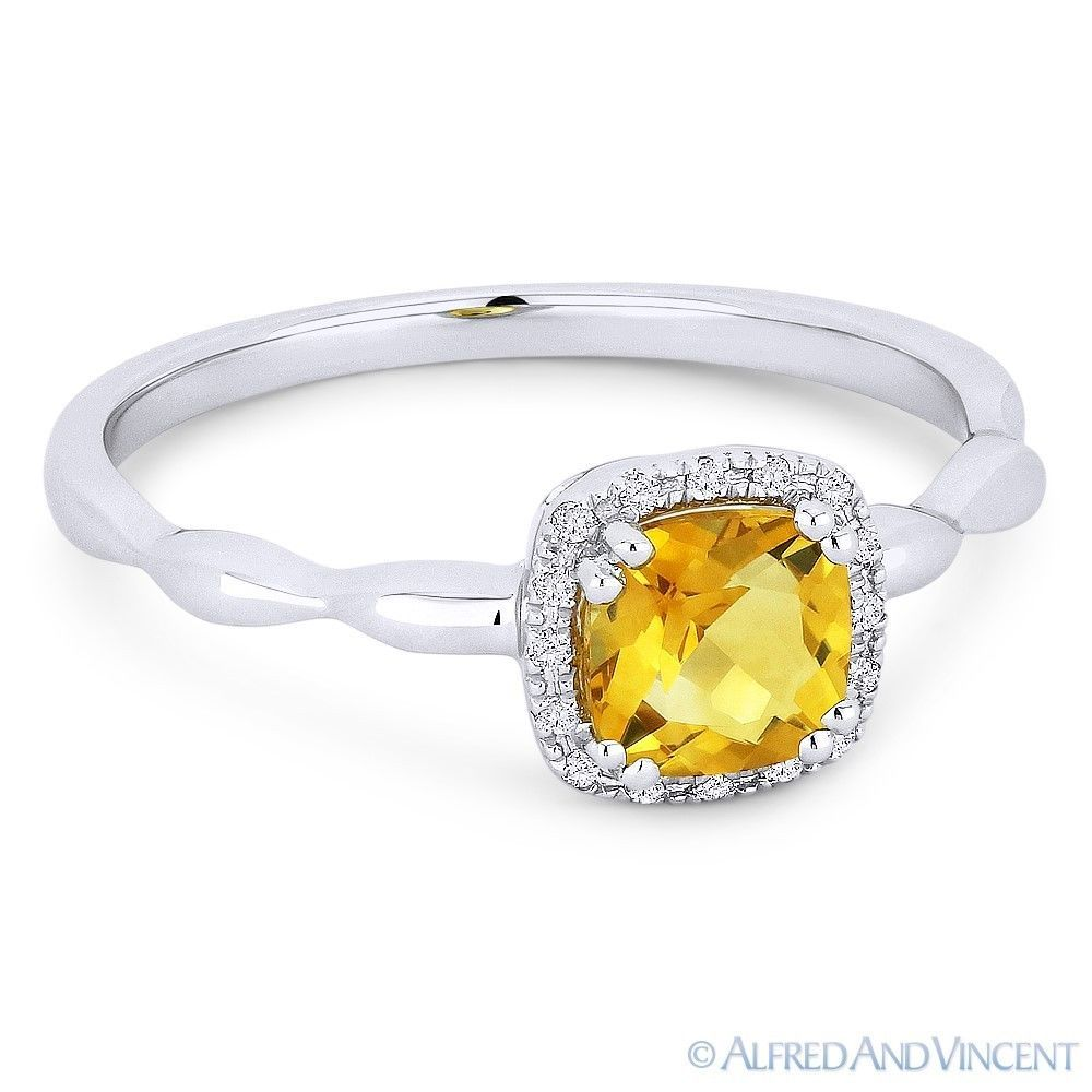 Primary image for 0.63 ct Cushion Cut Citrine Gemstone & Diamond Halo 14k White Gold Promise Ring